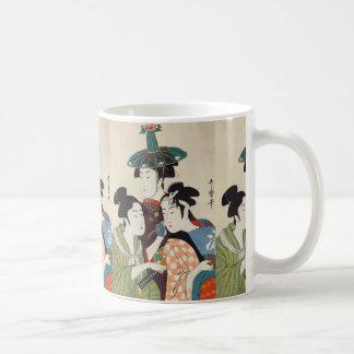 Three young kabuki actors Kitagawa, Utamaro art Coffee Mug
