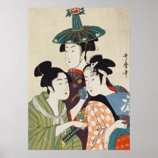 Three young kabuki actors Kitagawa, Utamaro art Poster