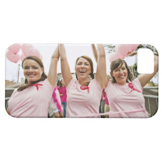 Three young women dressed in pink run in iPhone 5 case