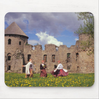Three young women in traditional clothes mouse pad