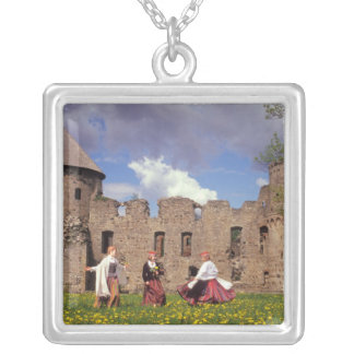 Three young women in traditional clothes square pendant necklace