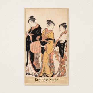 Three Young Women Masquerading as Komuso Business Card