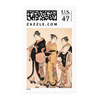 Three Young Women Masquerading as Komuso Postage Stamp
