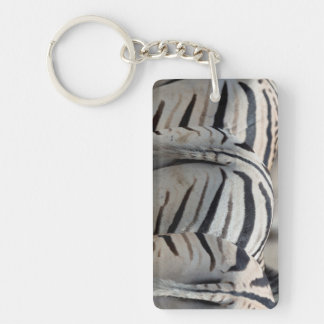 Three zebra tails and behinds acrylic keychain