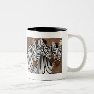 Three Zebras Two-Tone Coffee Mug
