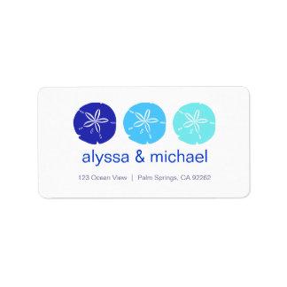 ThreeBlueSandDollars, alyssa & michael, 123 Oce... Address Label
