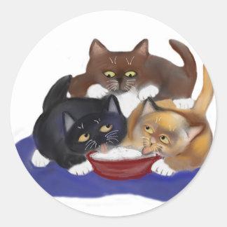 Threes a Crowd around a Yogurt Bowl Classic Round Sticker