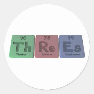 Threes-Th-Re-Es-Thorium-Rhenium-Einsteinium.png Classic Round Sticker