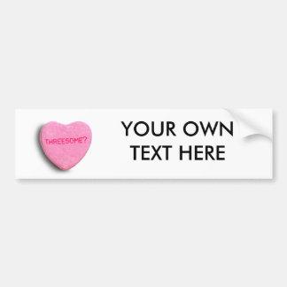Threesome Candy Heart Car Bumper Sticker