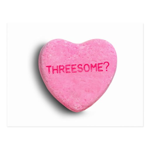 Threesome Candy Heart Postcard