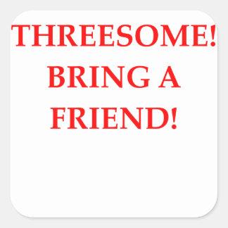 threesome square sticker