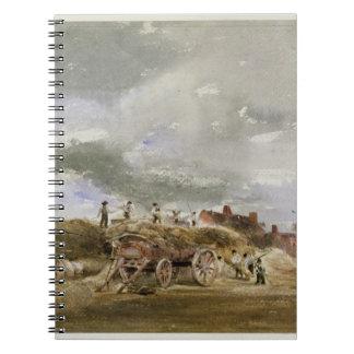 Threshing Corn (pencil & w/c on paper) Spiral Notebook