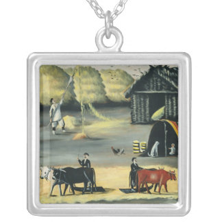 Threshing the floor in a Georgian country Silver Plated Necklace