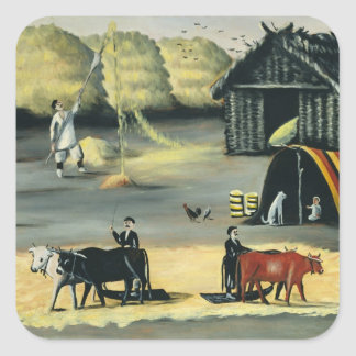 Threshing the floor in a Georgian country Square Sticker
