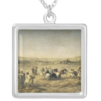 Threshing Wheat in Algeria, 1853 Silver Plated Necklace