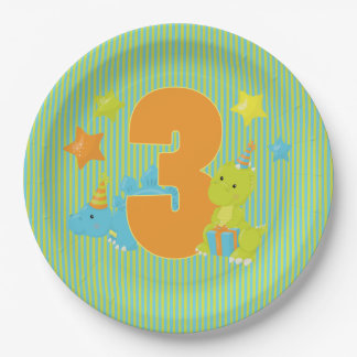 Thrid Birthday - Baby Dinosaur Party Paper Plate
