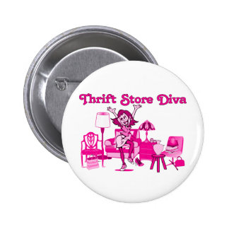 Thrift Store Diva Round Pinback Button
