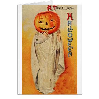 Thrilling Halloween Pumpkin Costume Card