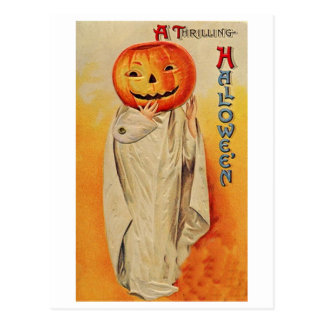 Thrilling Halloween Pumpkin Costume Postcard