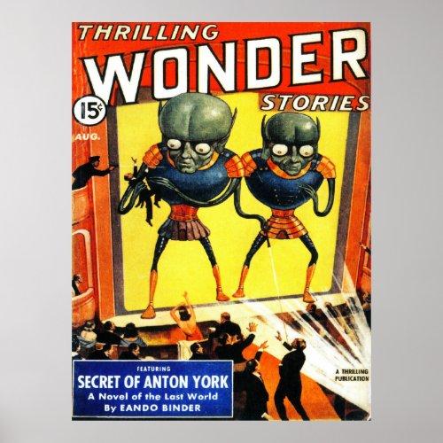 THRILLING WONDER Cool Vintage Pulp Magazine Cover Poster