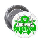 Thriving Kidney Cancer Survivor Green Ribbon Button