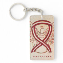 Throat Cancer Angel Awareness Ribbon Keychain