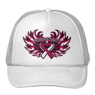 Throat Cancer Awareness Heart Wings.png Hats
