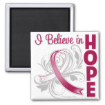 Throat Cancer Awareness I Believe in Hope Refrigerator Magnets