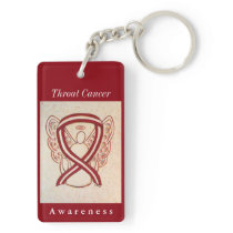 Throat Cancer Awareness Ribbon Angel Keychain