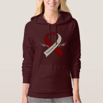 Throat Cancer Awareness Ribbon with Wings Hoodie