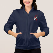 Throat Cancer Awareness Ribbon with Wings Jacket