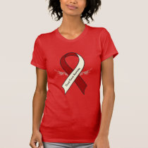 Throat Cancer Awareness Ribbon with Wings T-Shirt
