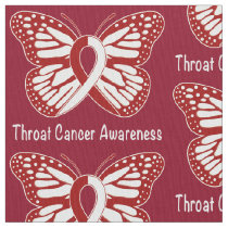 Throat Cancer Awareness with Butterfly Ribbon Fabric