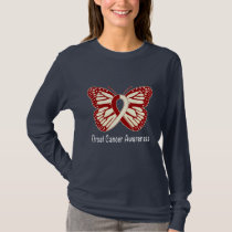 Throat Cancer Awareness with Butterfly Ribbon T-Shirt