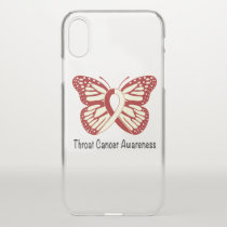 Throat Cancer Awareness with Butterfly Ribbon iPhone X Case