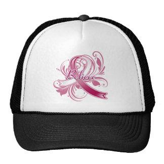 Throat Cancer Believe Flourish Ribbon Mesh Hats