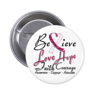 Throat Cancer Believe Heart Collage Button