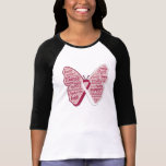 Throat Cancer Butterfly Collage of Words T-shirt