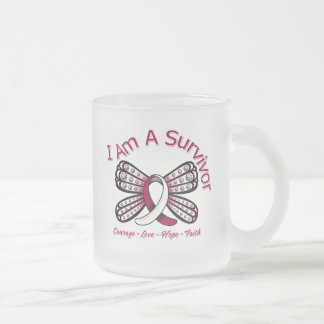Throat Cancer Butterfly I Am A Survivor 10 Oz Frosted Glass Coffee Mug