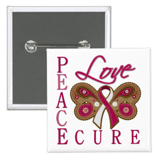 Throat Cancer Butterfly Peace Love Cure Button
