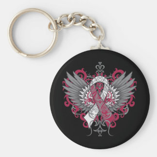 Throat Cancer Cool Wings Basic Round Button Keychain