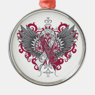 Throat Cancer Cool Wings Metal Ornament