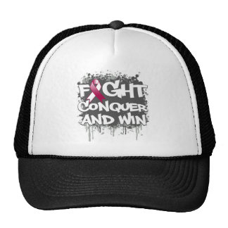 Throat Cancer Fight Conquer and Win Trucker Hats
