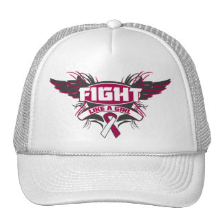 Throat Cancer Fight Like a Girl Wings.png Mesh Hat