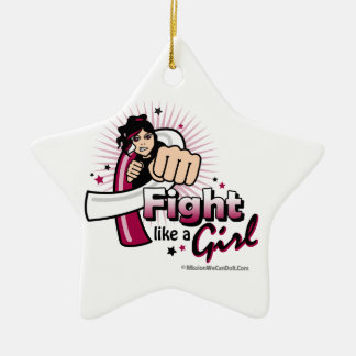 Throat Cancer Fist - Fight Like a Girl Christmas Ornament