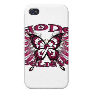 Throat Cancer Hope Believe Butterfly iPhone 4/4S Case
