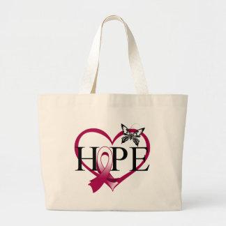Throat Cancer Hope Butterfly Heart Décor Canvas Bags