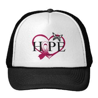 Throat Cancer Hope Butterfly Heart Décor Trucker Hats