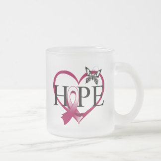Throat Cancer Hope Butterfly Heart Décor 10 Oz Frosted Glass Coffee Mug