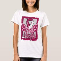 Throat Cancer Hope Butterfly Portrait T-Shirt